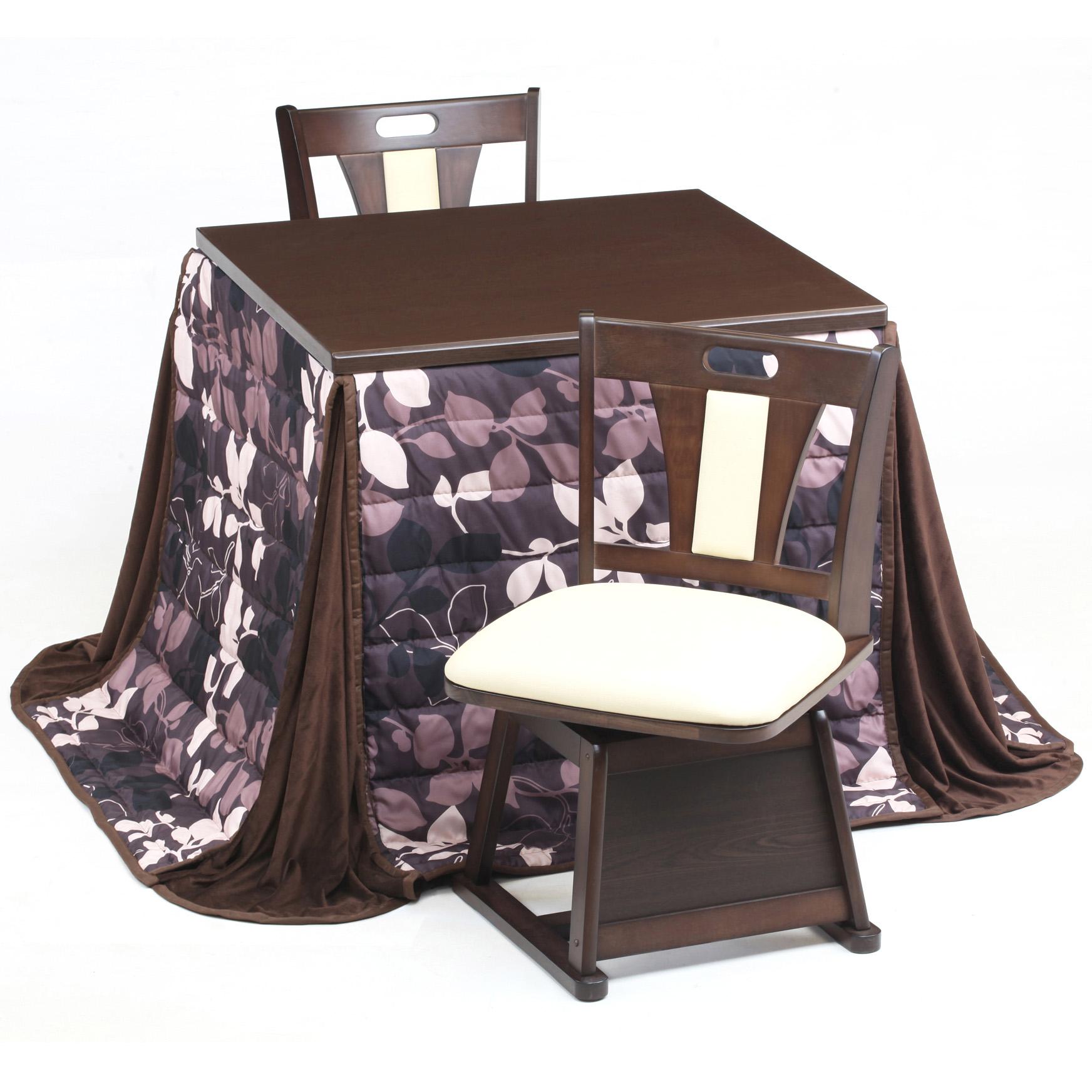 ダイニングこたつテーブル 4点セット スタンダード80 ハイタイプ (イス2脚)(布団付)