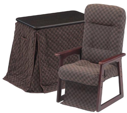 ダイニングこたつ 1人用 3点セット パーソナル(専用布団付) (小柄な人・お年より向けの椅子を採用)