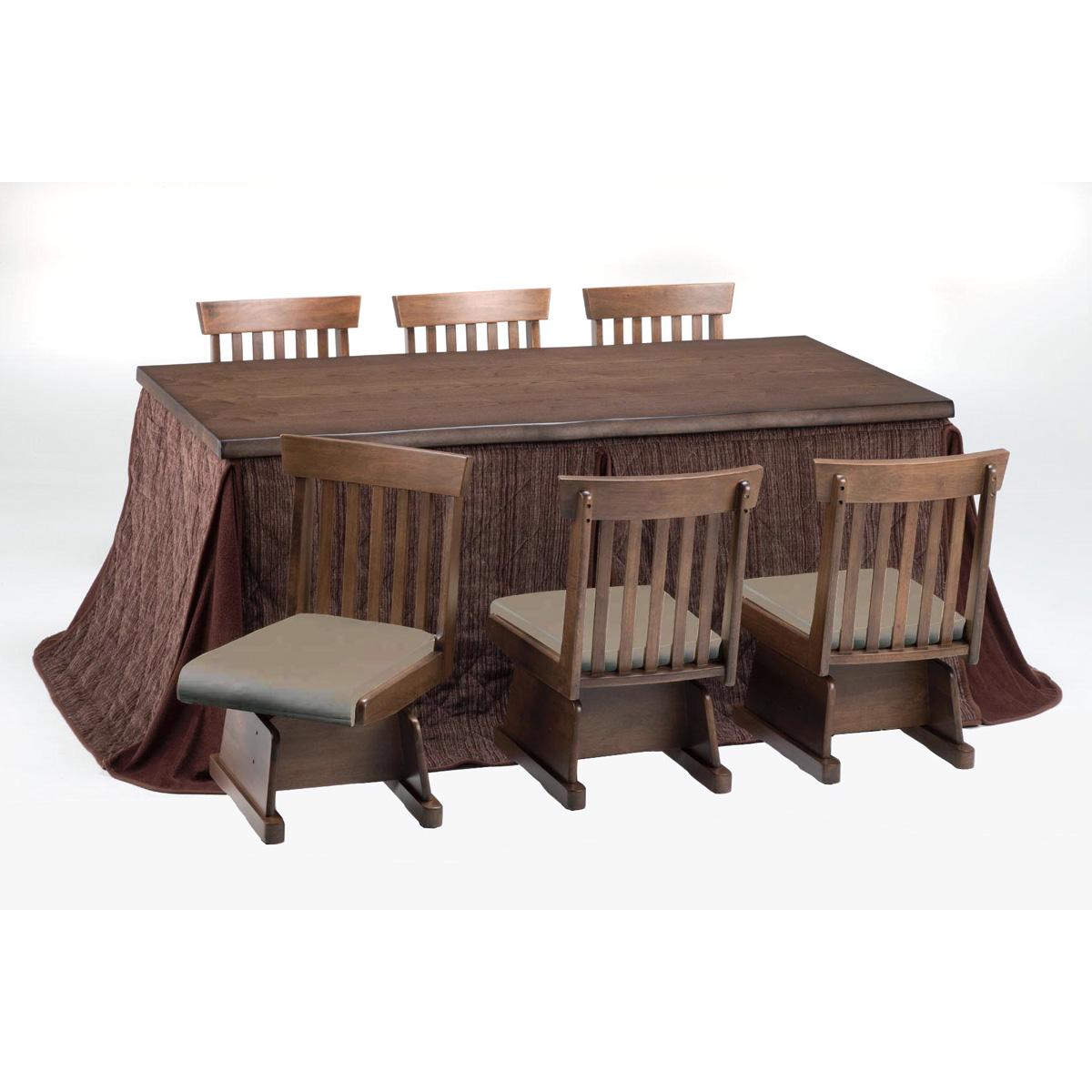 ダイニングこたつテーブルセット こたつ式8点・ハイタイプ川波180BR(イス6脚) (専用布団付)