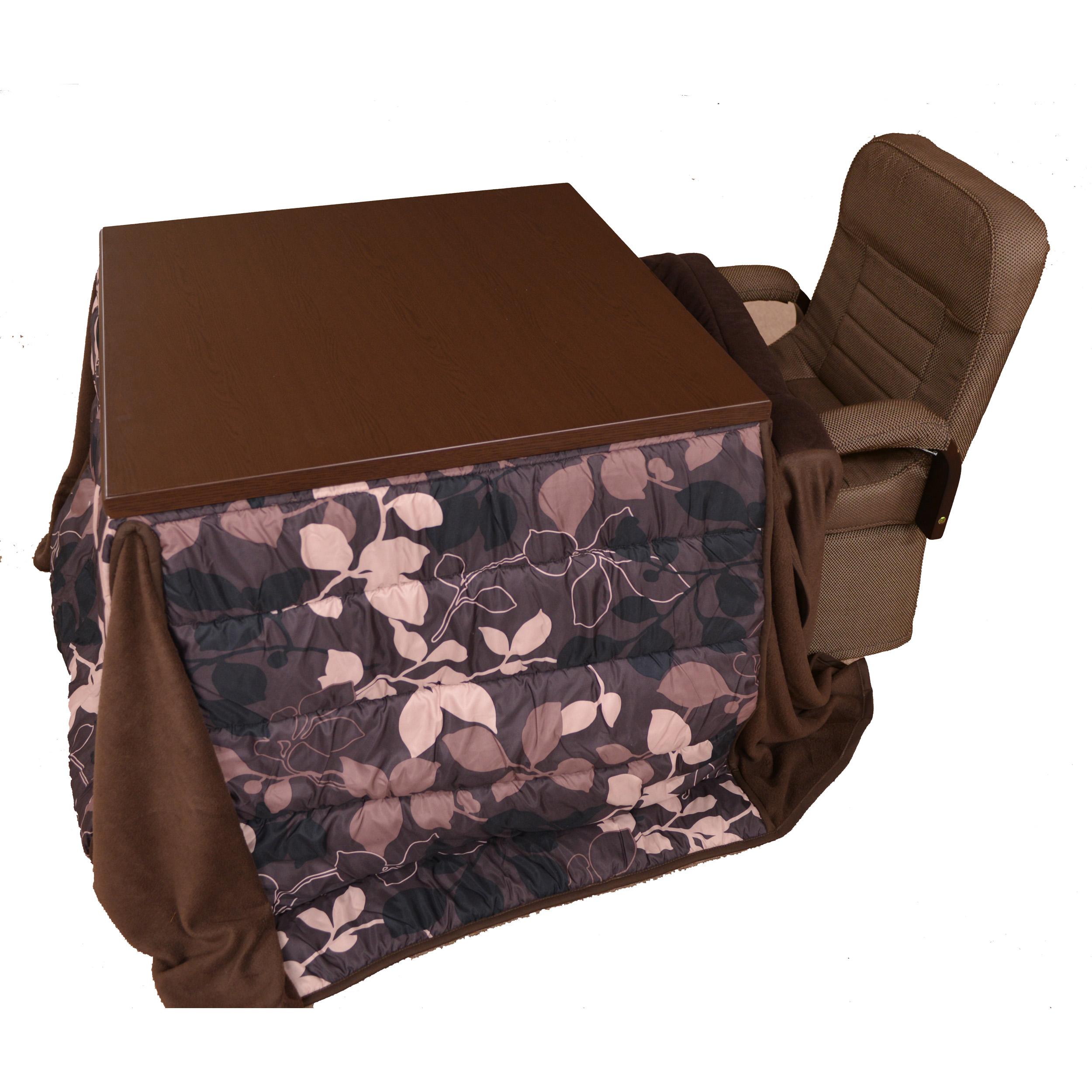 ダイニングこたつ2人用 4点セット(小柄な人・お年より向けの椅子を採用)回転椅子×2脚